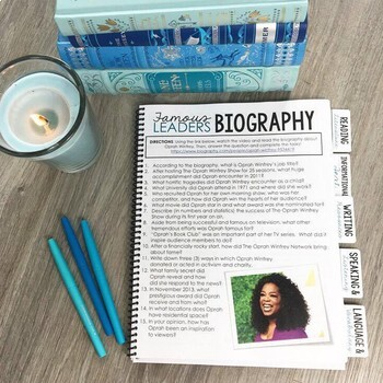 Famous Biographies Questions & Project: Teaching Informational Text EDITABLE