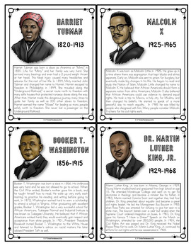 "Famous Black Americans Posters and 5 x 4"" Trading Cards"