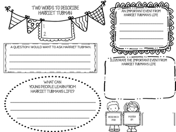 Famous Black Americans Research Biography Posters Graphic Organizers