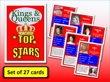 Famous British Kings & Queens Top Stars Card Game set of 27 PUB History Posters