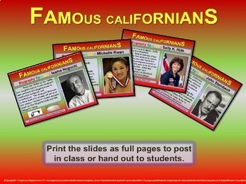 Famous Californians: mini-bios for each week of school (handouts included)