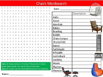 Famous Chair Designs Furniture Wordsearch Puzzle Sheet Engineering IKEA