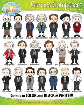 Famous Composer Characters Clipart {Zip-A-Dee-Doo-Dah Designs}