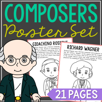 10 Famous Composers Coloring Page Crafts or Posters with Informational Text