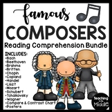 Famous Composers Reading Comprehension Worksheet Bundle Music History