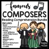 Famous Composers Reading Comprehension Worksheet Bundle #2 Music