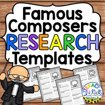 Famous Composers Research Project Templates for Grades 3-5