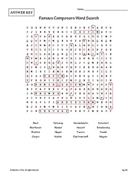 Famous Composers Word Search