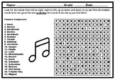 Famous Composers, Word Search Worksheet, Music History Sub Plan