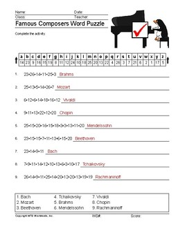 Famous Composers Word Search and Word Puzzle Worksheet Packet