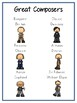 Famous Composers Writing Word Thematic Folder - Picture Word Wall
