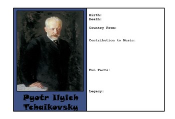 Famous Composers of Music - Trading Cards to be Made