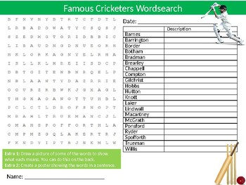 Famous Cricketers Wordsearch Sheet Cartoon Starter Activity Sports PE Cricket