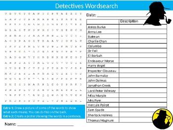 Famous Detectives Wordsearch Sheet Literature Starter Activity Keywords