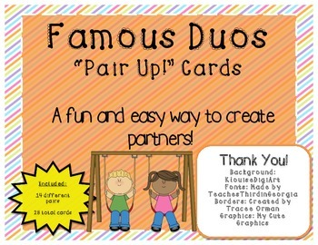 """Famous Duos """"Pair Up!"""" Cards"""