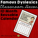 Famous Dyslexics 12 Month Poster Calendar for Dyslexia Awareness