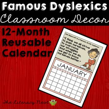 Famous Dyslexics 12 Month Poster Calendar for Dyslexia Awareness