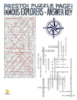 Famous Explorers Puzzle Page (Wordsearch and Criss-Cross)