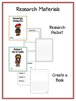 Famous Explorers Research Project -13 People Vocab Cards, Packet, Book & More