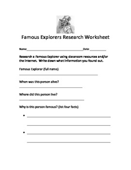 Famous Explorers Research Worksheet, Poster Template, and