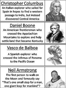 Famous Explorers Word Wall Cards