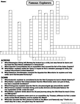 Famous Explorers Worksheet/ Crossword Puzzle by Science ...