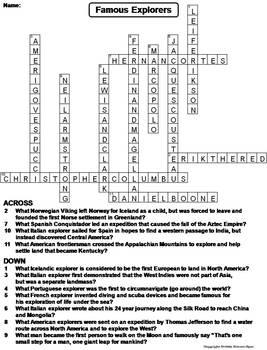 Famous Explorers Worksheet/ Crossword Puzzle