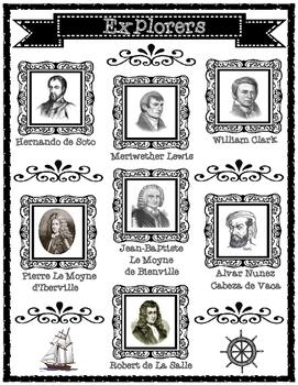Famous Explorers of Louisiana Graphic Organizers
