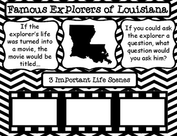 Famous Explorers of Louisiana Pair and Share Posters