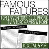 Famous Failures - INVENTORS | Reading Informational Text w/ comprehension Q's