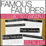 Famous Failures -CELEBRITIES- Reading Infornmational Text w/ comprehension Q's