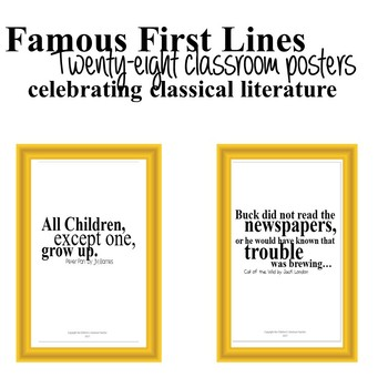 Famous First Lines -28 Classroom Posters Celebrating Classical Literature