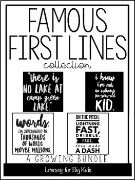famous first lines book quote posters with black and white