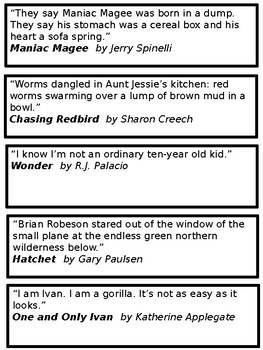 Famous First Lines Bookmarks