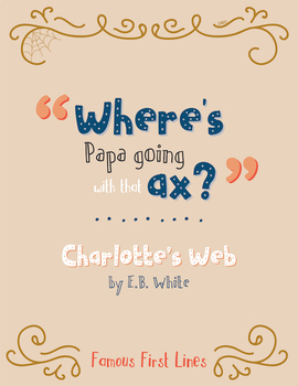 Famous First Lines : Charlotte's Web Poster