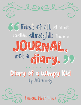 Famous First Lines: Diary of a Wimpy Kid Poster