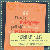 Famous First Lines: From the Mixed Up Files of Mrs. Basil E. Frankweiler