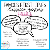Famous First Lines Posters: Classroom Library Decor for grades 5-7 (FREEBIE)