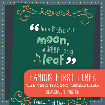 Famous First Lines : The Very Hungry Caterpillar Poster