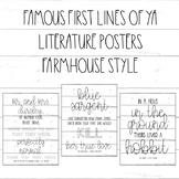 Famous First Lines / Young Adult YA Books / Shiplap/Farmhouse Classroom Posters