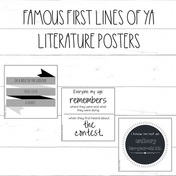Famous First Lines of Young Adult Books - Classroom Posters