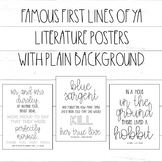 Famous First Lines of Young Adult YA Books / Classroom Posters / Reading