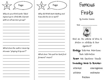 Famous Firsts Trifold - 5th Grade Literacy by Design Theme 12