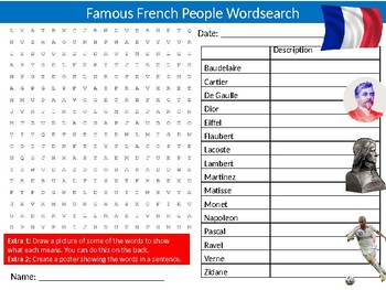 Famous French People Wordsearch Sheet Starter Activity Keywords France