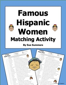 Famous Hispanic Women Matching - Women's History Month / Women's Day