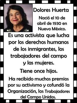 Famous Hispanics Bulletin Board (128 slides) in Spanish!