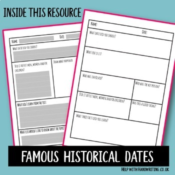 Famous Historical Events Handwriting Sheets