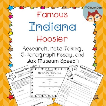 Famous Hoosier Research, Note-Taking, Essay, and Wax Museum Speech