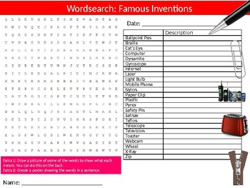 Famous Inventions Wordsearch Puzzle Sheet Keywords Inventors Design