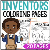 Famous Inventors Coloring Page Crafts or Posters with Biographies, STEM